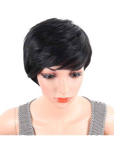Short Straight Synthetic Wigs Pixie Cut Natural Hair Wig With Bangs ...