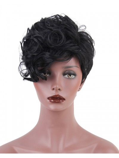 High Temperature Fiber Short Curly Synthetic Hair Wigs for Women