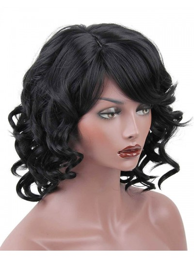 Synthetic Short Wigs For Black Women Wavy With Bangs Hairstyle Heat Resistant