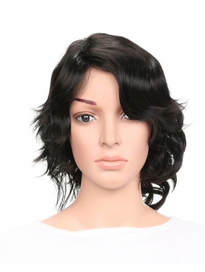 Synthetic Short Wigs for Women Black Curl Hair With Side Bangs Hairstyle