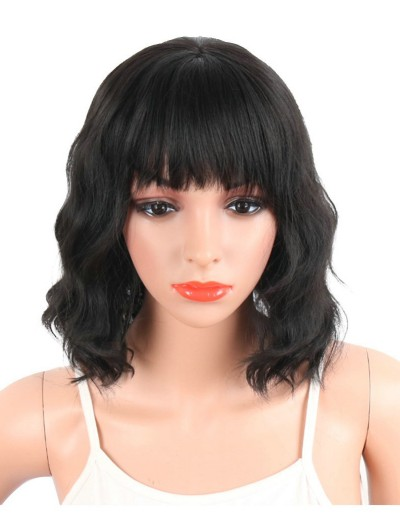Synthetic Wigs With Bangs For Black Women Short Wavy Women's Hair Wigs Natural Heat Resistant