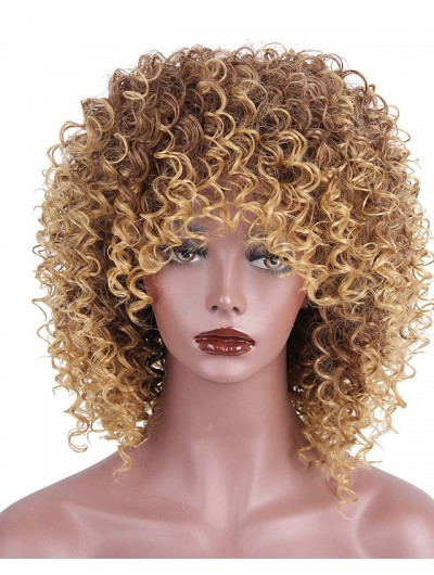 High Temperature Fiber Synthetic Short Hair Afro Kinky Curly Wigs for Black Women