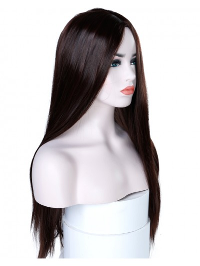 """22"""" Long Straight Black Wig Women Hairstyles Heat Resistant Synthetic Wigs For Black Women"""
