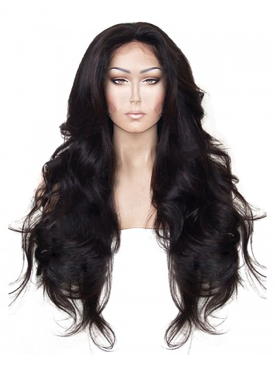High Temperature Fiber Hair Natural Hairline Glueless Long Body Wave Synthetic Lace Front Wig with Middle Part