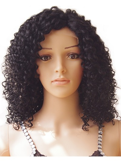 Glueless Kinky Curly Bob Lace Front Wig Heat Resistant Synthetic Hair for Women