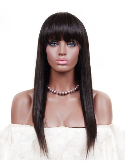 Silky Straight Synthetic Hair Glueless Lace Front Wigs With Bangs Fringe Natural Black 20-30inch For Women