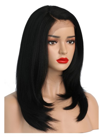 Kinky Straight Synthetic Lace Front Wigs For Black Women Heat Resistant L Part Short Natural Hair Wigs