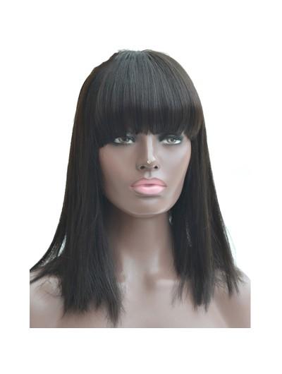 Black Women Natural Color 150% Density Human Hair Wigs With Bangs