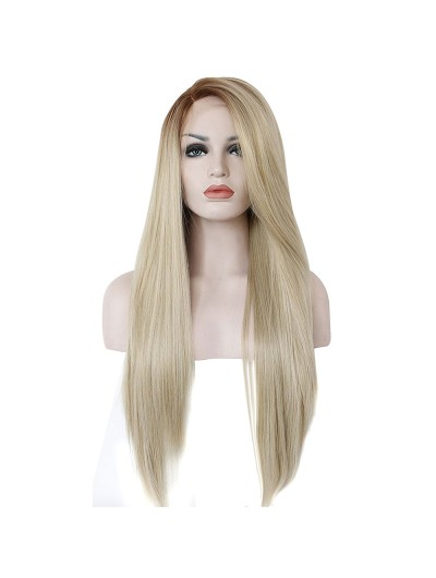 Long Straight Brown Blonde Synthetic Lace Front Wig
