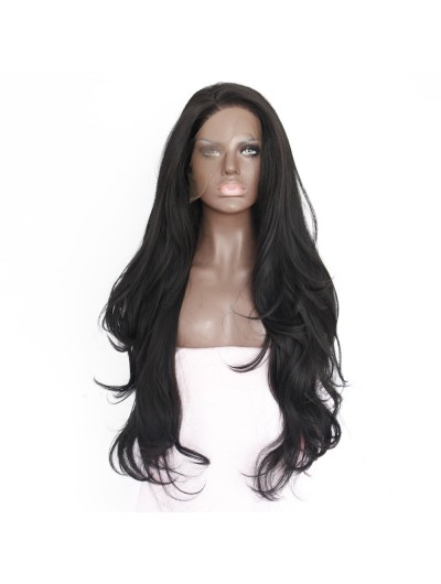 Half Handmade Synthetic Natural Wavy Black Women Lace Front Wig