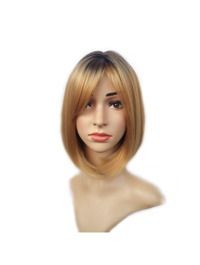 Blonde Short Wig Cute Fringe Straight Bob Wig