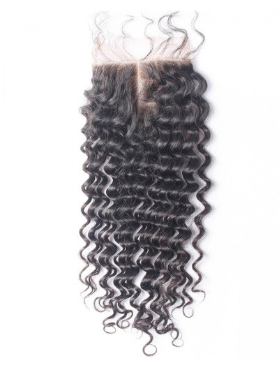 7A 4 x 4 Lace Closure Brazilian Hair Deep Wave