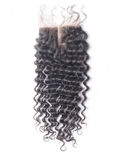 7A 4 x 4 Lace Closure Indian Hair Deep Wave