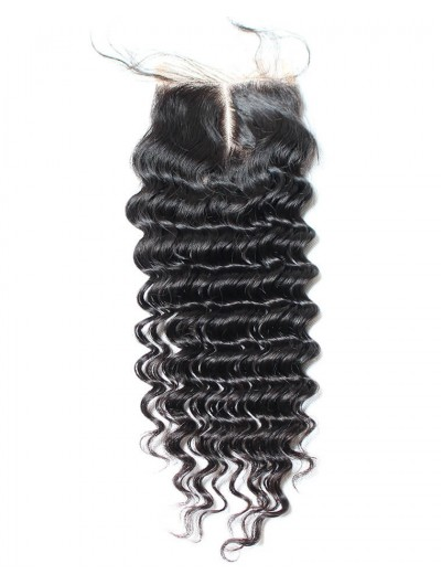 8A Premium 4 x 4 Lace Closure Indian Hair Deep Wave