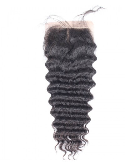 8A Premium 4 x 4 Silk Base Closure Indian Hair Deep Wave