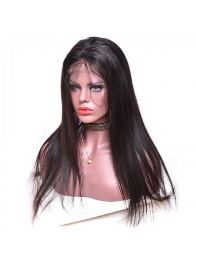Straight Brazilian Human Hair Hand Tied Elastic Full Lace Wig