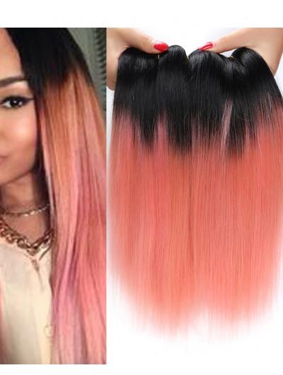 Ombre Rose Gold Peruvian Virgin Human Hair Bundle 7A Peruvian Virgin Hair Weft