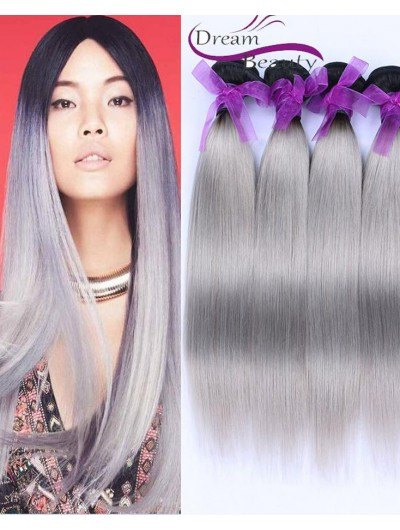 T1B/Gray Ombre Brazilian Virgin Human Hair Weave Grey Ombre Two Tone Human Hair Weft
