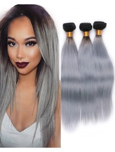 Brazilian Straight ombre grey human hair weave 3 bundles