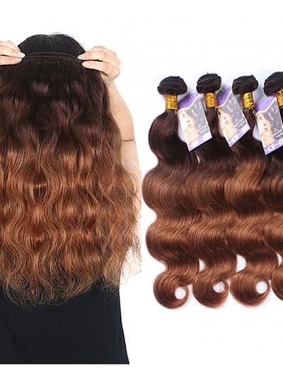 8A ombre hair extensions brazilian virgin hair body wave two tone #4/30 rosa hair