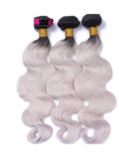1B/Grey Ombre Brazilian Virgin Hair 7A Unprocessed Silver Grey Ombre Human Hair weave