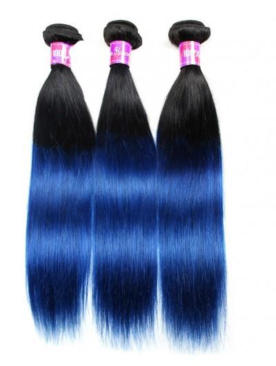 7A Brazilian ombre straight blue black hair extensions 1B/blue human hair weave
