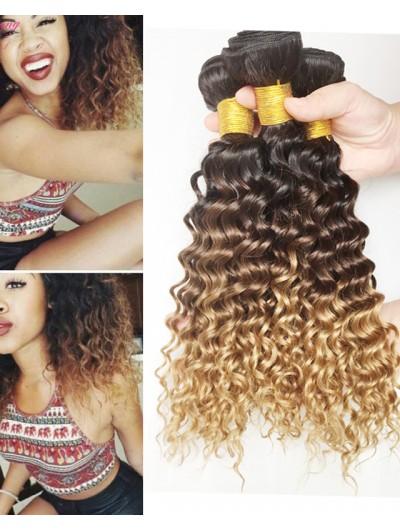 8A Mink Brazilian Ombre Deep Wave Human Hair Weave 1b 4 27 30