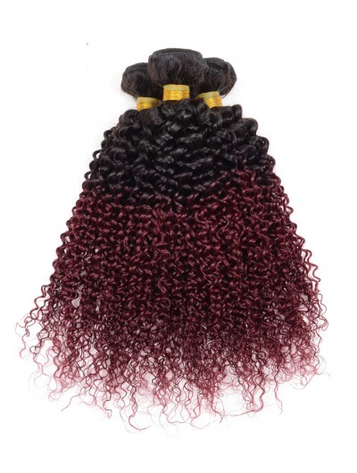 Ombre Curly Wave Brazilian Hair 7A 1B Burgundy Brazilian Hair Ombre Kinky Curly Hair Weave