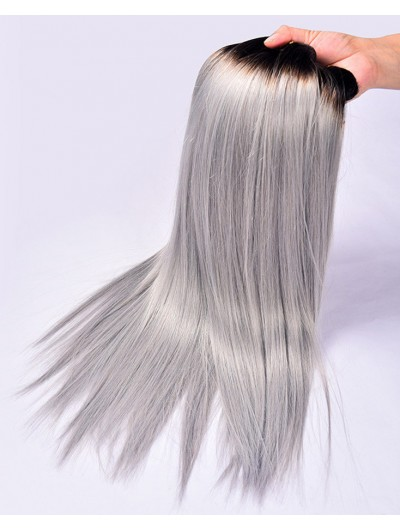 7A Brazilian Straight Hair Weave Two Tone Ombre Grey Ombre Brazilian Hair Straight