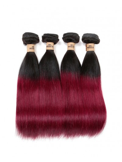 8A Brazilian Virgin Hair Straight Ombre Hair Extensions 1B/99J Two Tone Ombre Brazilian Hair