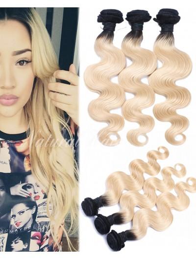 8A Brazilian 1b/613 colored two tone hair weave blonde virgin hair dark roots ombre 613 human hair
