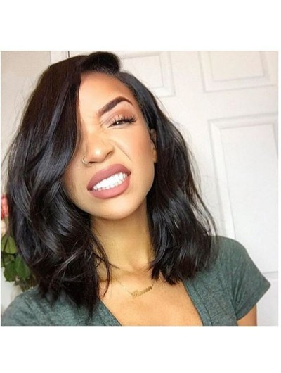 Medium Lace Front Human Hair Bob Wigs With Baby Hair