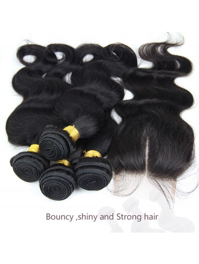 6A 3 Bundles with Closure Deal Brazilian Hair Body Wave