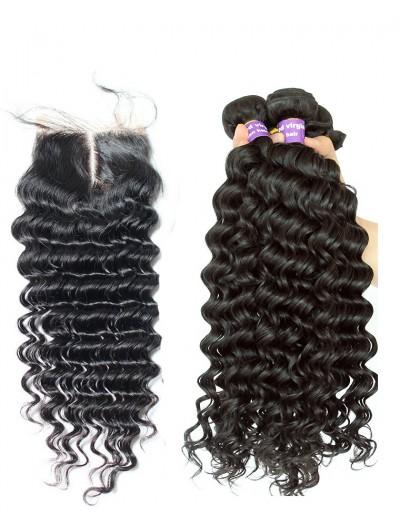 6A 3 Bundles with Closure Deal Brazilian Hair Deep Wave