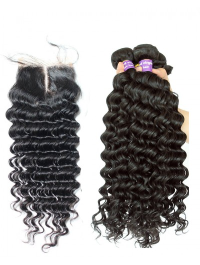 6A 3 Bundles with Closure Deal Malaysian Hair Deep Wave