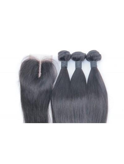 6A 3 Bundles with Closure Deal Brazilian Hair Straight