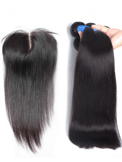 6A 3 Bundles with Closure Deal Indian Hair Straight