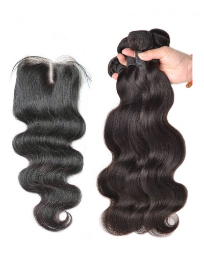 7A 3 Bundles with Closure Deal Indian Hair Body Wave