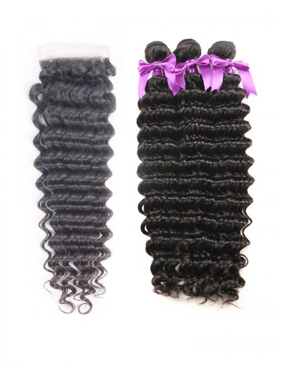 7A 3 Bundles with Closure Deal Malaysian Hair Curly