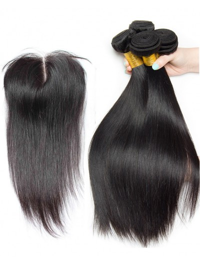 7A 3 Bundles with Closure Deal Indian Hair Straight