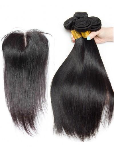 7A 3 Bundles with Closure Deal Malaysian Hair Straight