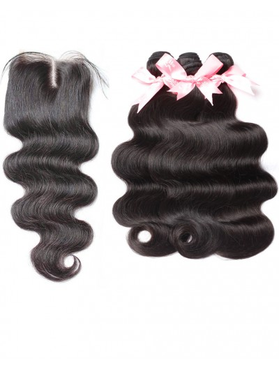 8A Premium 3 Bundles with Closure Deal Indian Hair Body Wave