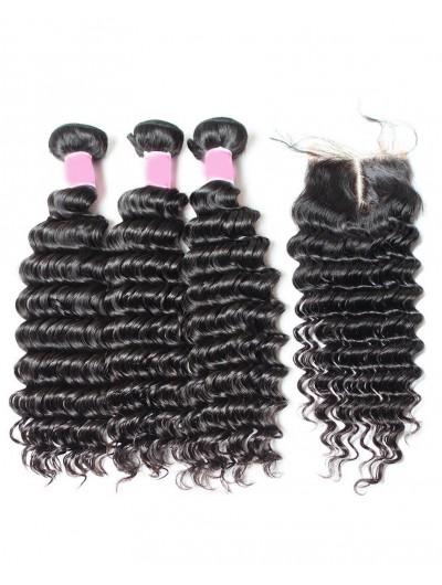 8A Premium 3 Bundles with Closure Deal Indian Hair Deep Wave