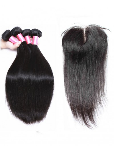 8A Premium 3 Bundles with Closure Deal Malaysian Hair Straight