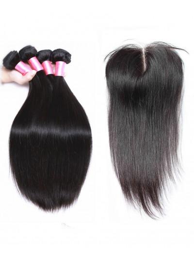 8A Premium 3 Bundles with Closure Deal Peruvian Hair Straight
