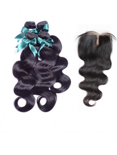 6A 4 Bundles with Closure Deal Indian Hair Body Wave