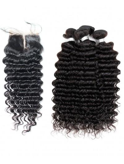 6A 4 Bundles with Closure Deal Malaysian Hair Deep Wave