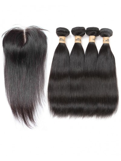 6A 4 Bundles with Closure Deal Indian Hair Straight