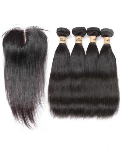 6A 4 Bundles with Closure Deal Peruvian Hair Straight