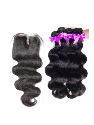 7A 4 Bundles with Closure Deal Indian Hair Body Wave